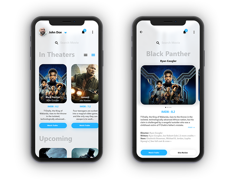 Movie Review Concept Grid View Interactive Design App Design Ios Design