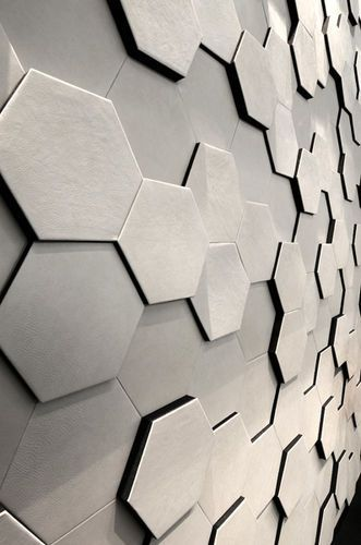 panneau d coratif mural en cuir alveole cuir au carr d coration hexagonale pinterest. Black Bedroom Furniture Sets. Home Design Ideas