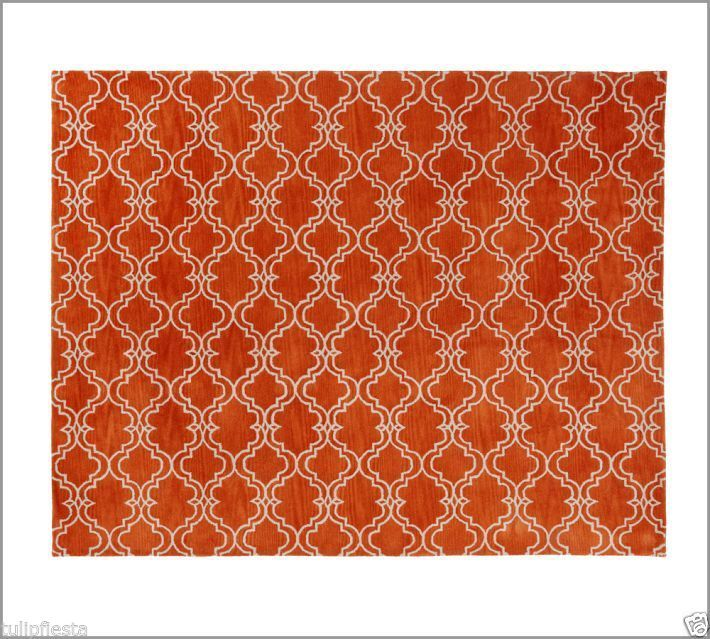 Brand New Scroll Tile Orange 9x12 Handmade Persian Style