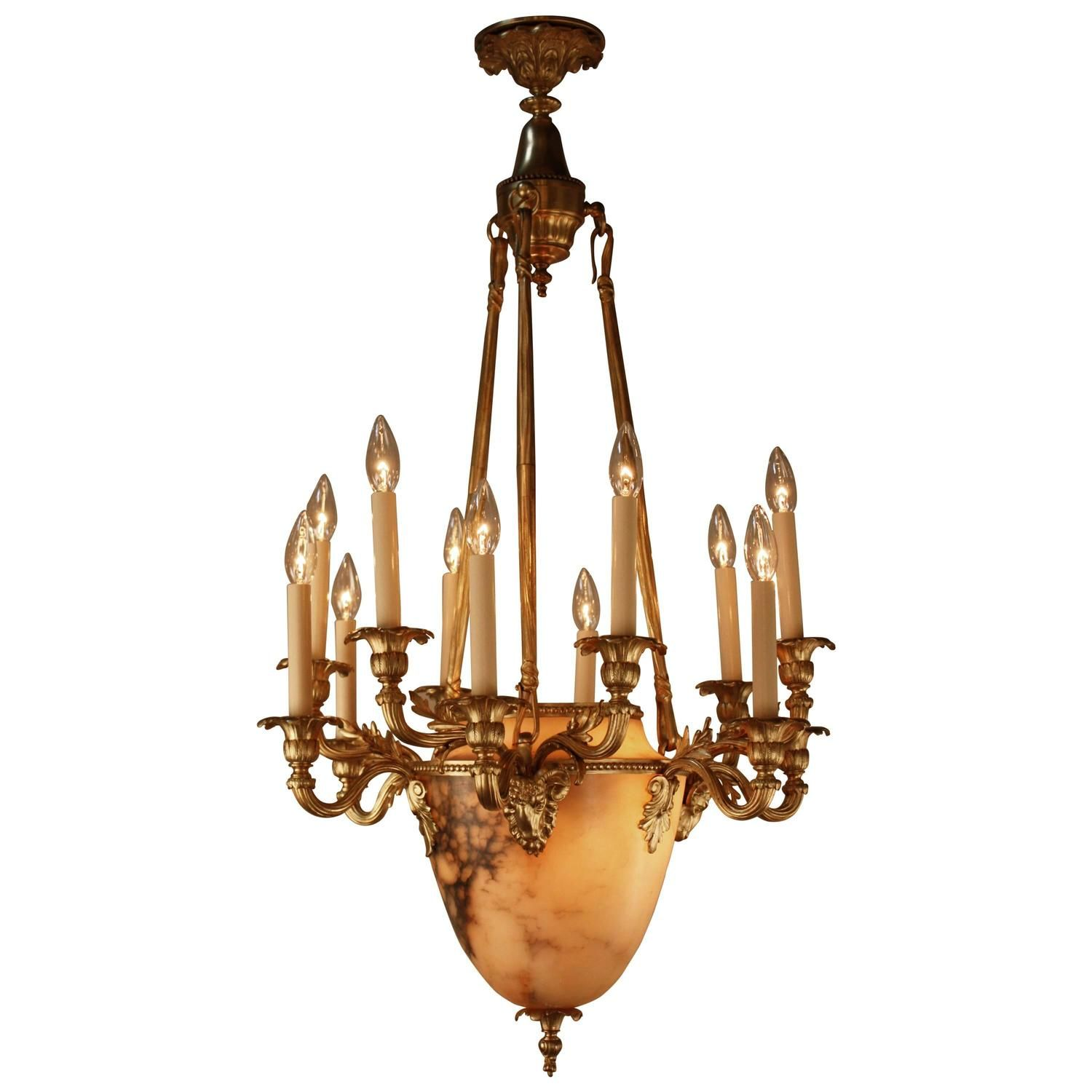 French bronze and alabaster chandelier chandeliers urn and canopy french bronze and alabaster chandelier aloadofball Gallery