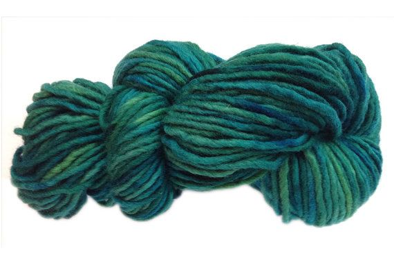 Hand-painted limited-edition bulky Australian merino wool yarn in Pacific