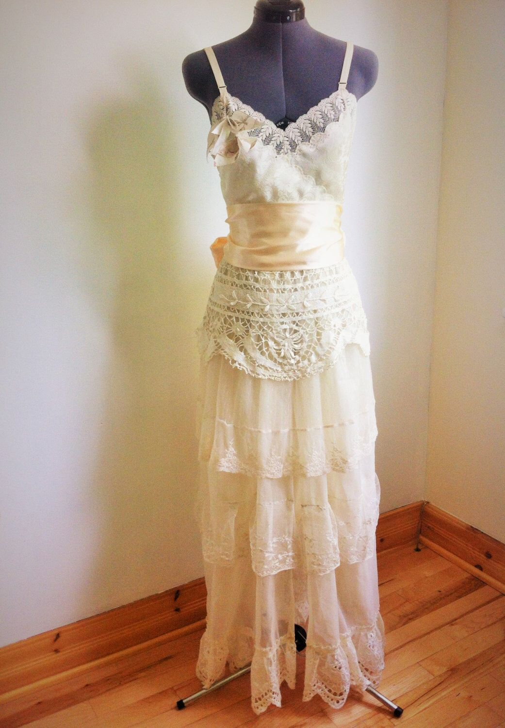 Ivory lace boho wedding dress with vintage lace by