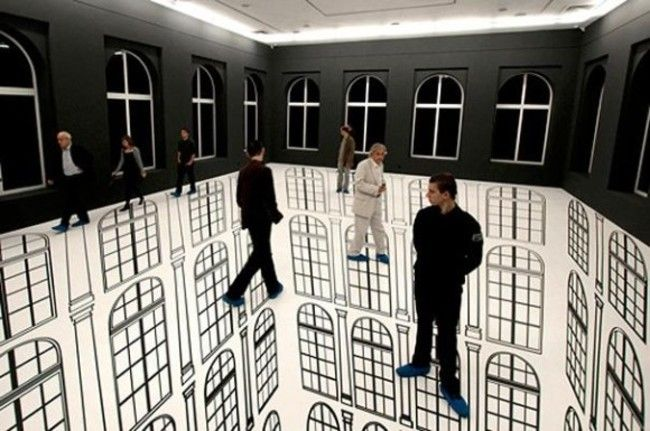 Esta habitación pintada en 3D parece contener una caída masiva