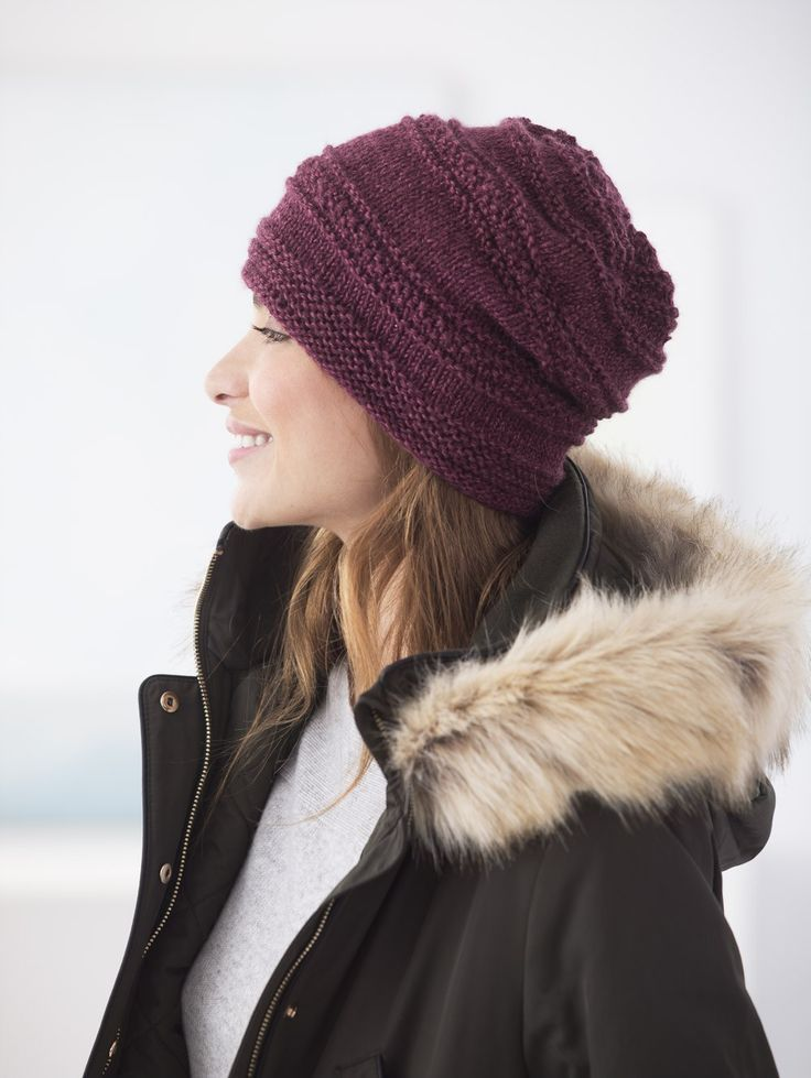 Free Knit Pattern Simple Texture Slouch Hat Knitting Pinterest