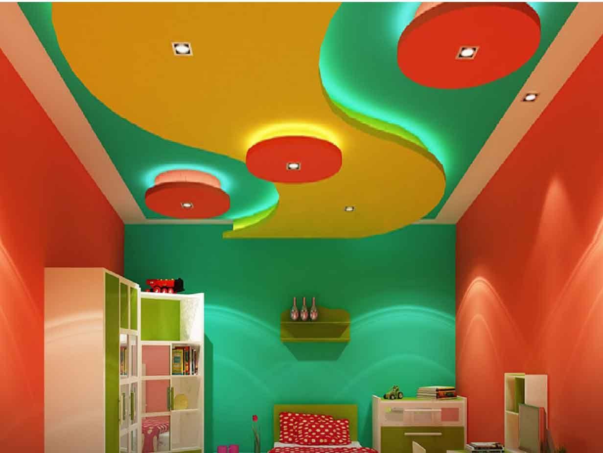 colorful POP false ceiling design Plaster of Paris ceiling ...