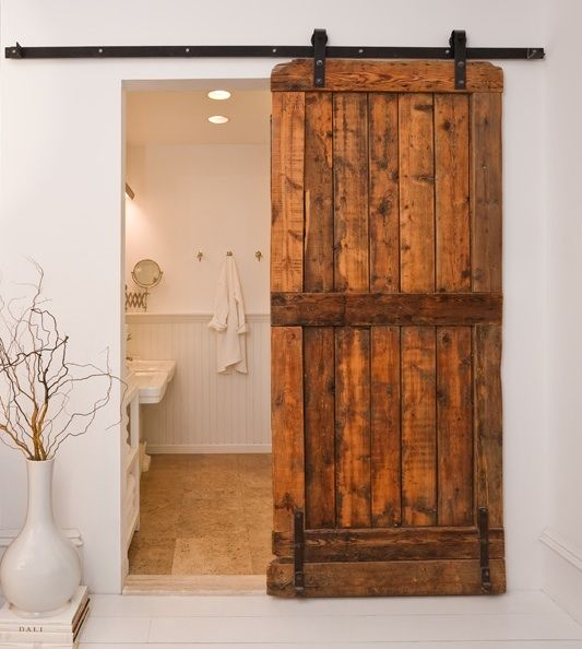 Love This Old Barn Door, Adds Lots Of Character To Any Project.great Idea  To Use A Barn Sliding Door System In Place Of Building In A Pocket Door.