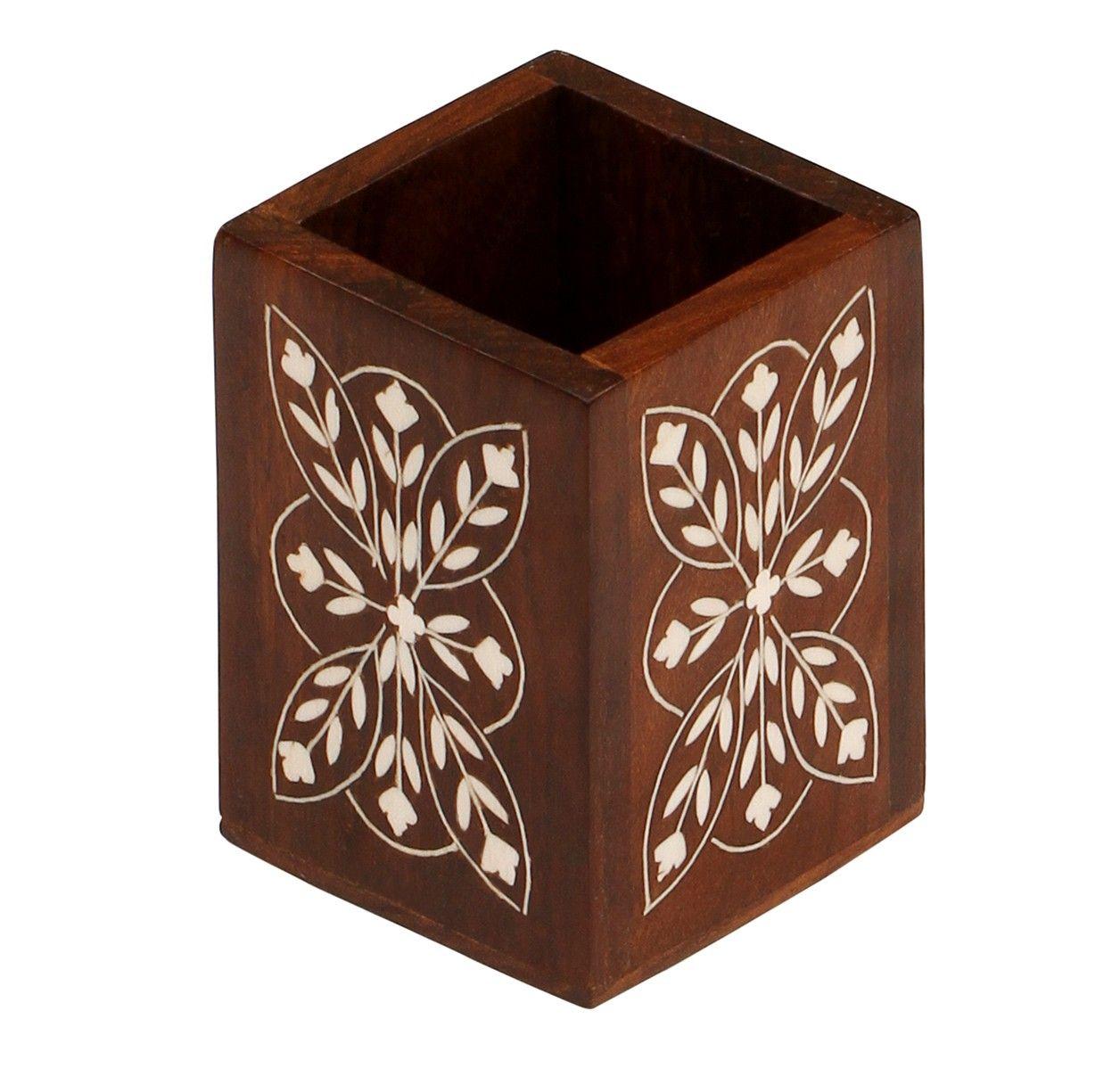 Bulk Wholesale Handmade Wooden Pen Stand / Holder / Organizer with Floral  Latticework Carving – Desk
