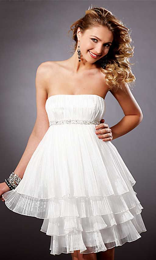 Appropriate High School Graduation Dress | Blush Short Strapless White Homecoming Dresses