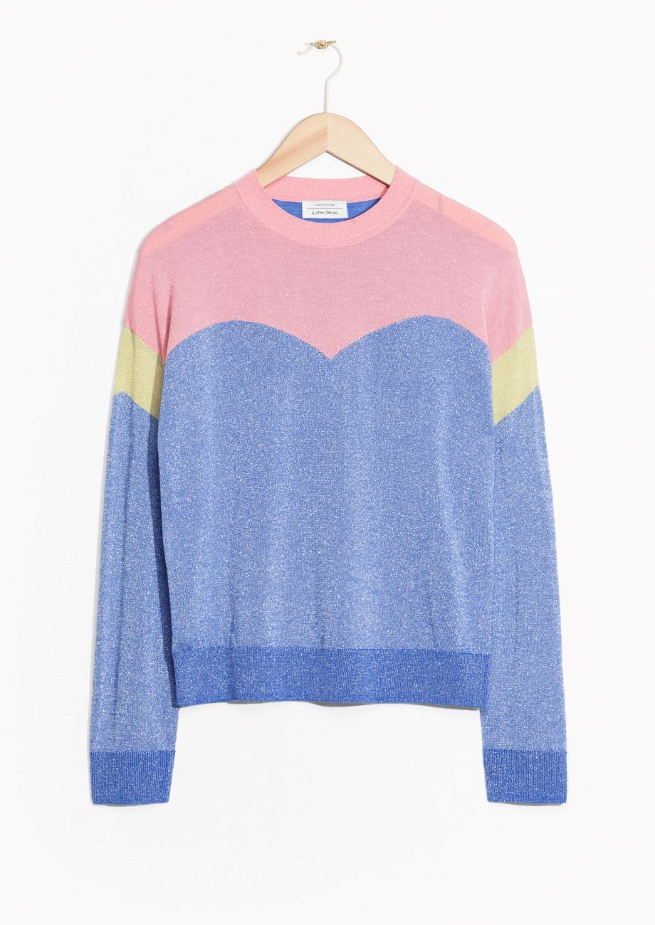 Colour Block Glitter Sweater | Pink/Blue | Pink blue, Color ...