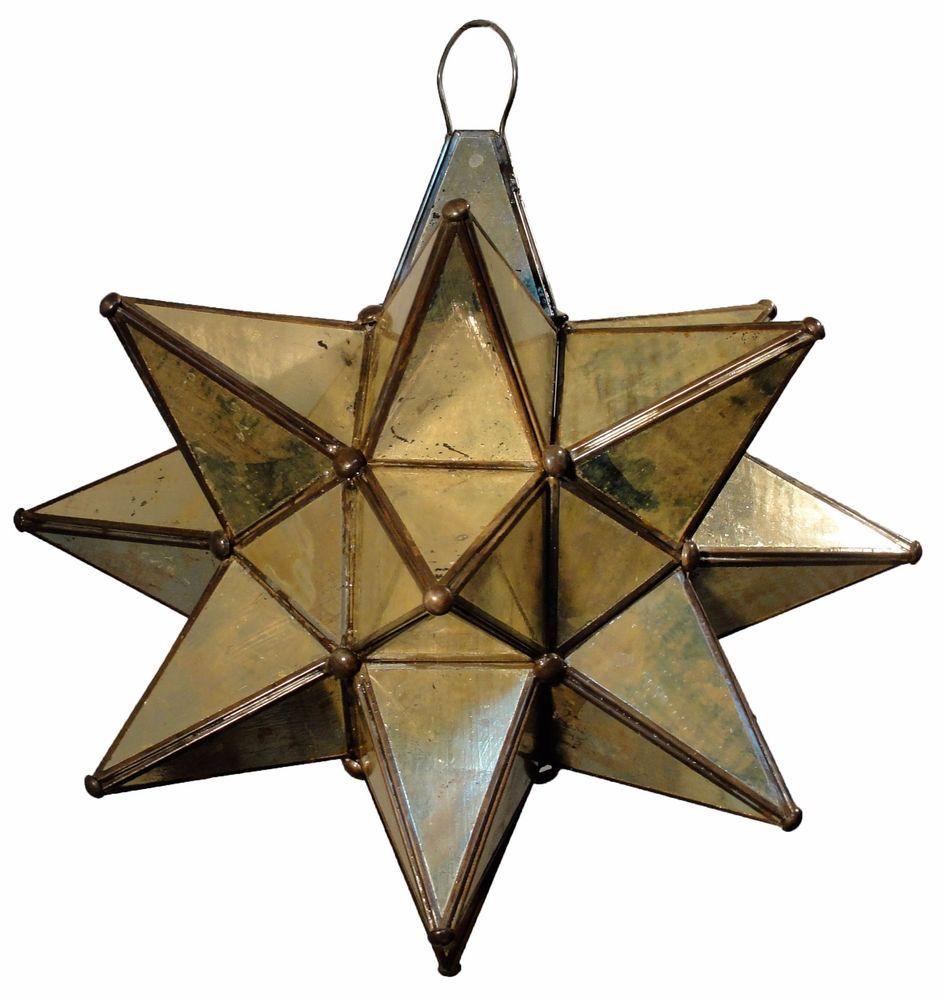 mexican old egged glass moravian star pendant light lamp - Star Pendant Light