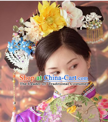 Qing Dynasty Quene Hairstyle Manchu Hairstyle Chinese Oriental Hairstyles Long Black Wig Hairstyle Long Hair Styles