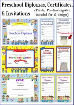 preschool diplomas certificates graduation invitations pre k