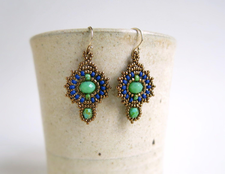 Beadwork earring Gypsy boho earrings Beaded by DandasCollection
