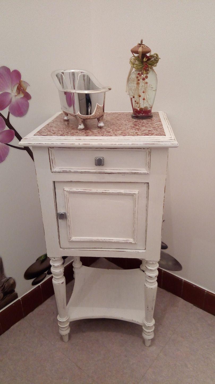 chevet ancien avec dessus marbre meubles et rangements par jo relook