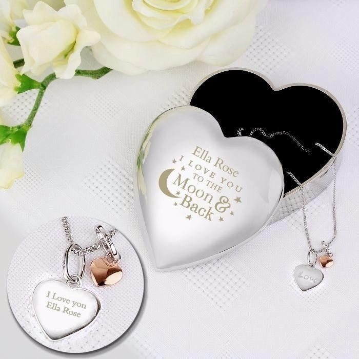 Personalised Silver Heart Trinket Box Pendant Jewellery Storage