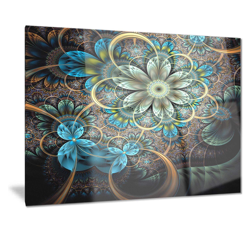 Designart ulighted blue fractal blue flowersu digital art floral