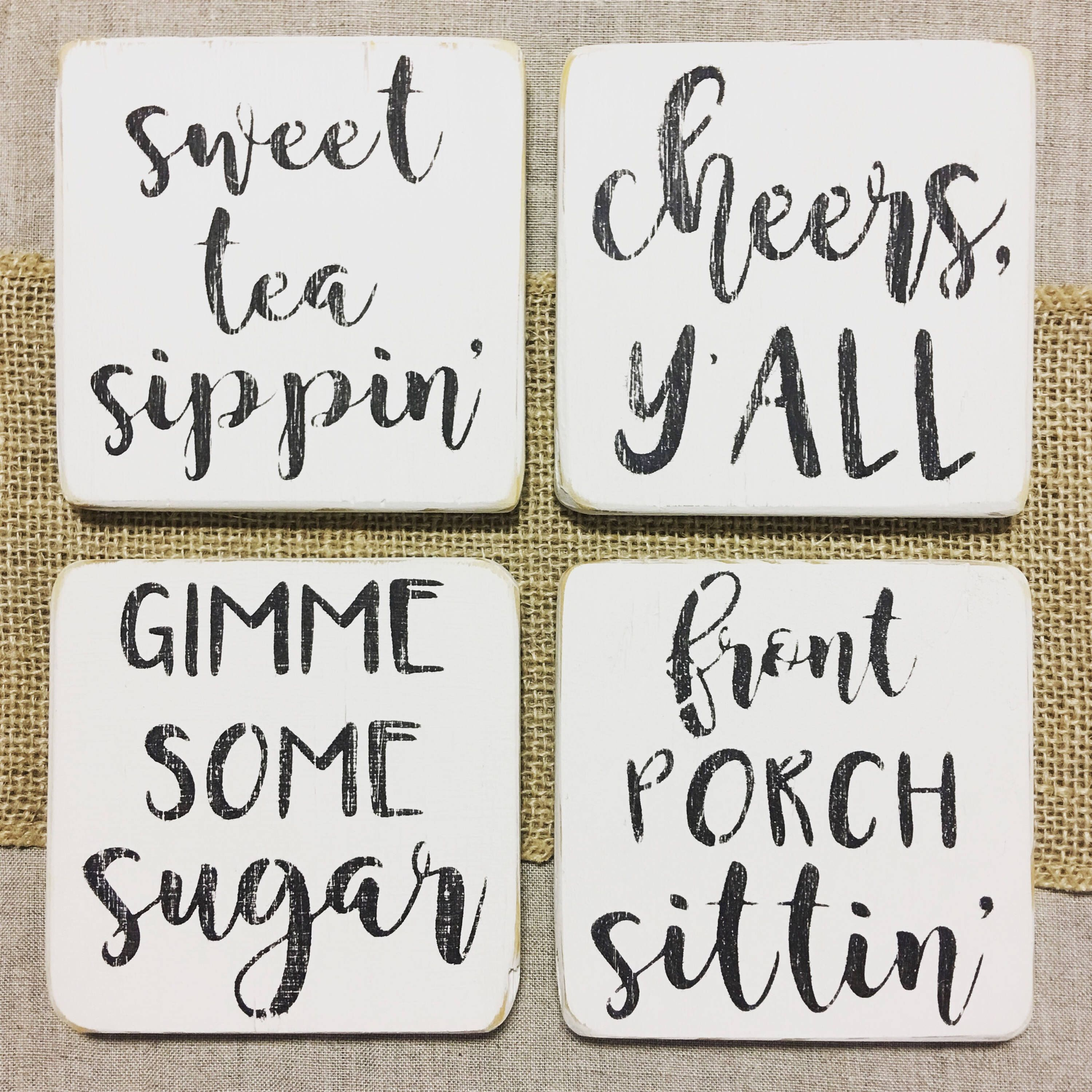 Farmhouse drink coasters Housewarming gift Quote coasters
