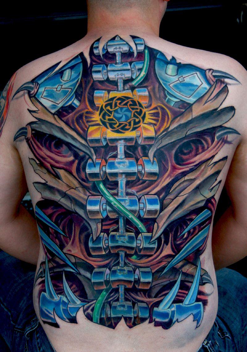 Tattoo gear tattoo sleeve mechanic tattoo mechanical tattoo gears - Great Bio Mechanical Tattoo Design On Back By Todo Abt