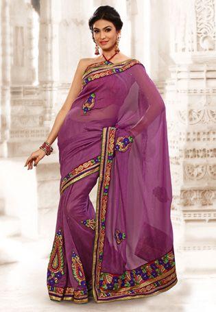 Purple Color Lenen Jute Silk  Embroidery Saree