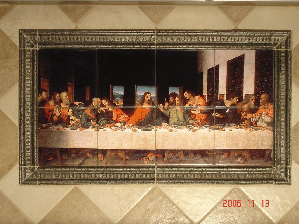 Art On Ceramic Tile Backsplash Installed With Picture Frame