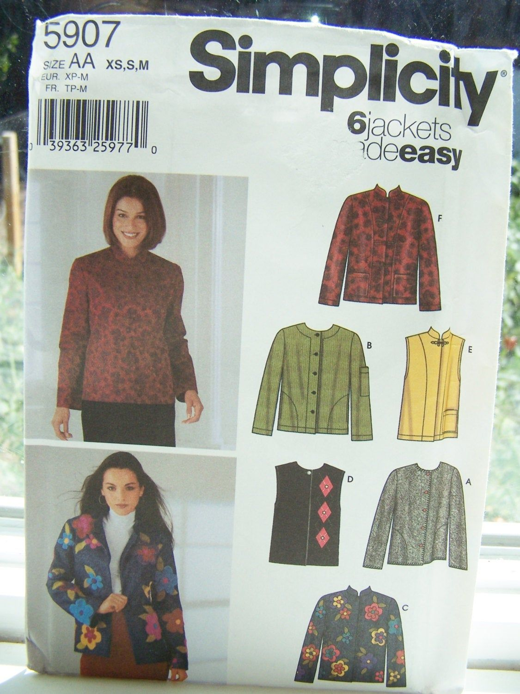 Simplicity 5907 Misses Jackets /& Vest Sewing Pattern ~ Size 6-16 XS-M