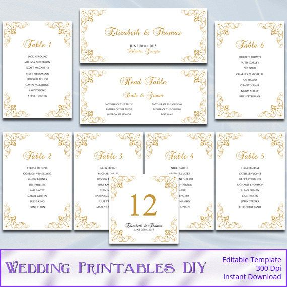 Printable Seating Chart For Wedding Reception: DIY Printable Gold Wedding Seating Chart Templates Come As