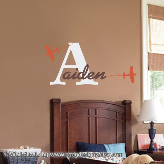 Airplane Wall Decal Monogram Initial Baby Nursery by CadyDesignz $31.00 & Airplane Wall Decal Monogram Initial Baby Nursery by CadyDesignz ...