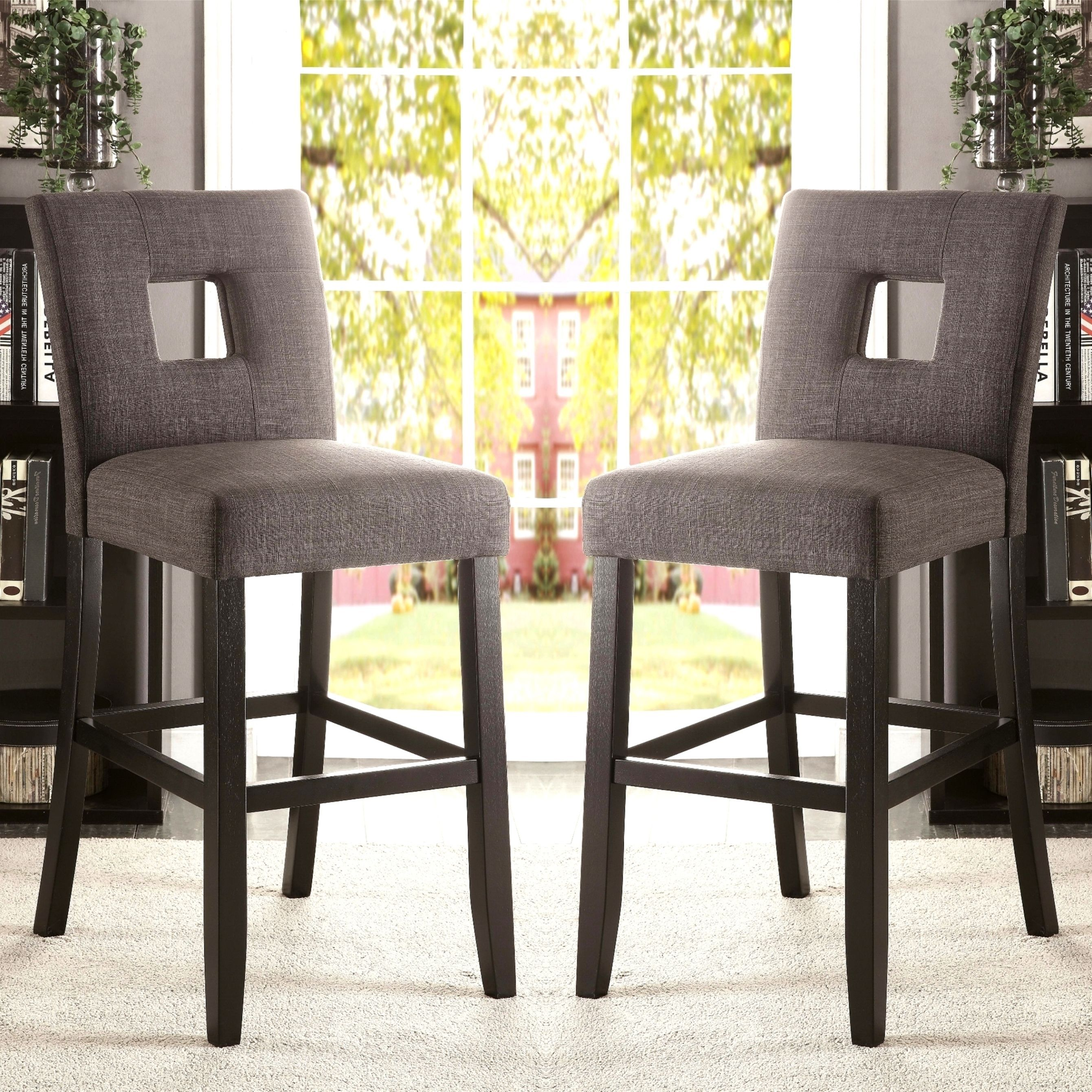 Maldives Open Back Grey Upholstered Counter Height Parsons Dining Stools  (Set Of 2) (