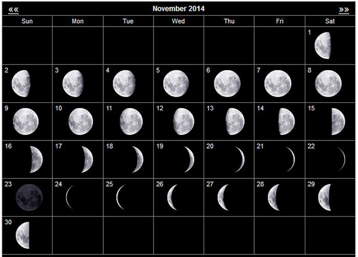 ... Blank Printable Calendar Moon Phases November 2014 - 700x503 - jpeg