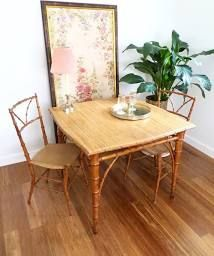 Bamboo Rattan Card Table and 2 Woven Chairs Set, British Colonial Style, Hand Crafted Bamboo Dining Table, Pair Chairs, Table 2 Chairs