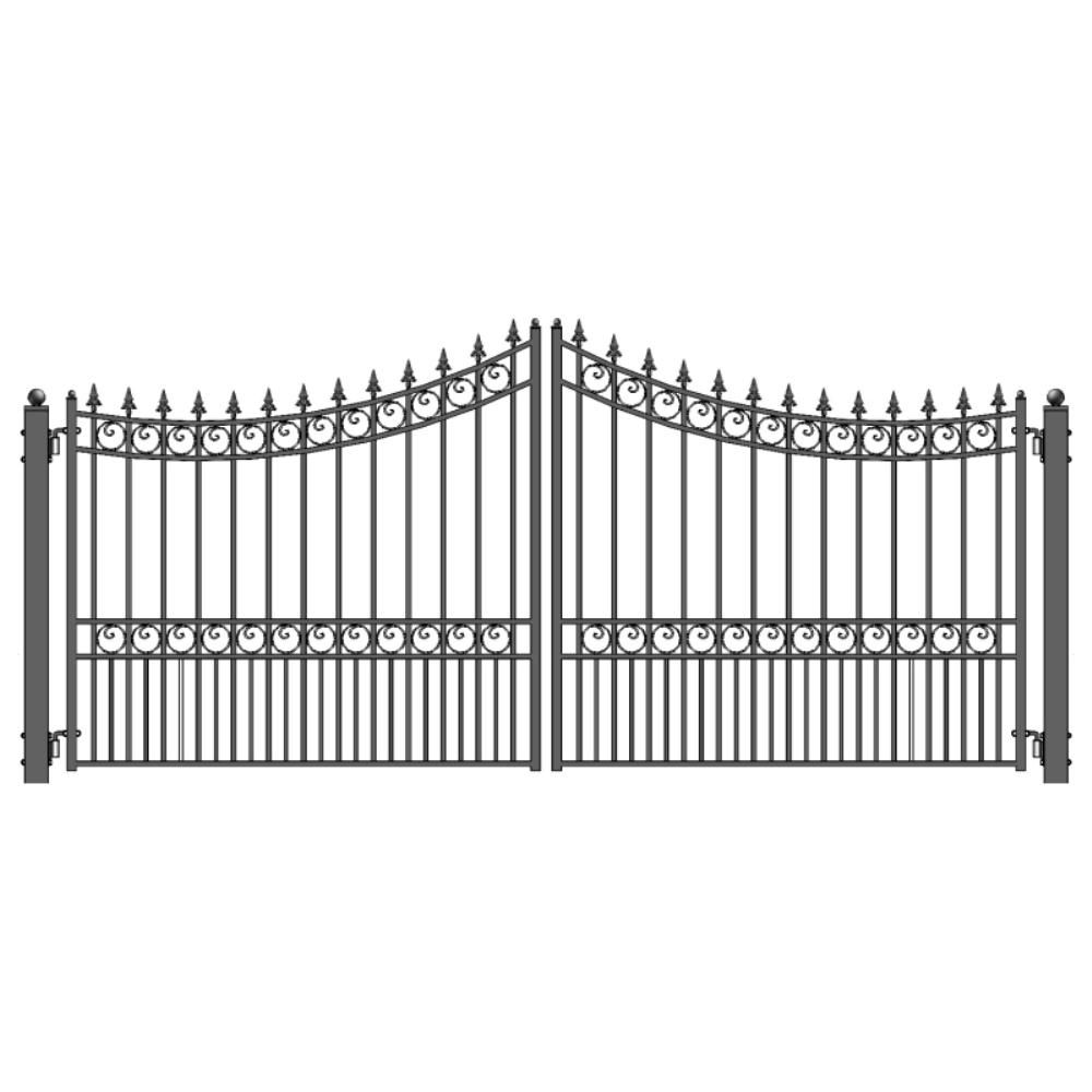 Aleko Moscow Style 14 Ft X 6 Ft Black Steel Dual Driveway Fence Gate Driveway Gate Wrought Iron Gate Designs Driveway Fence