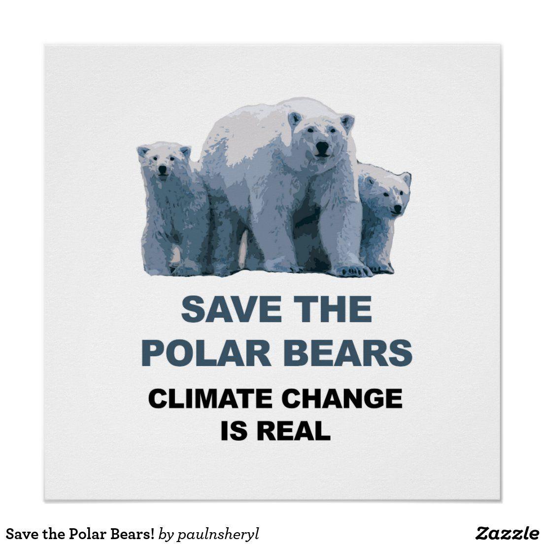 save the polar bears poster zazzle