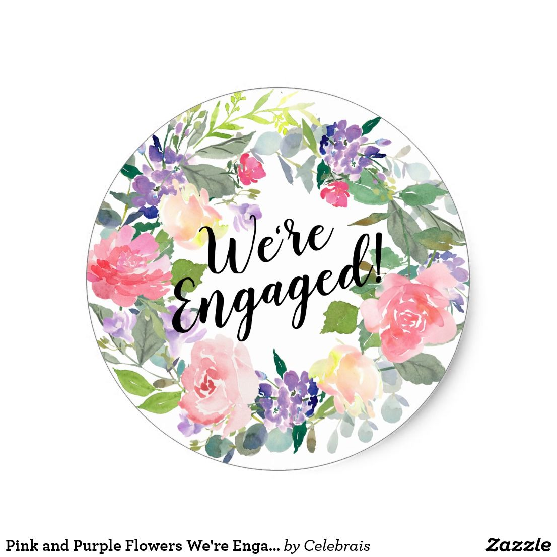 Pink and purple flowers were engaged watercolor classic round sticker