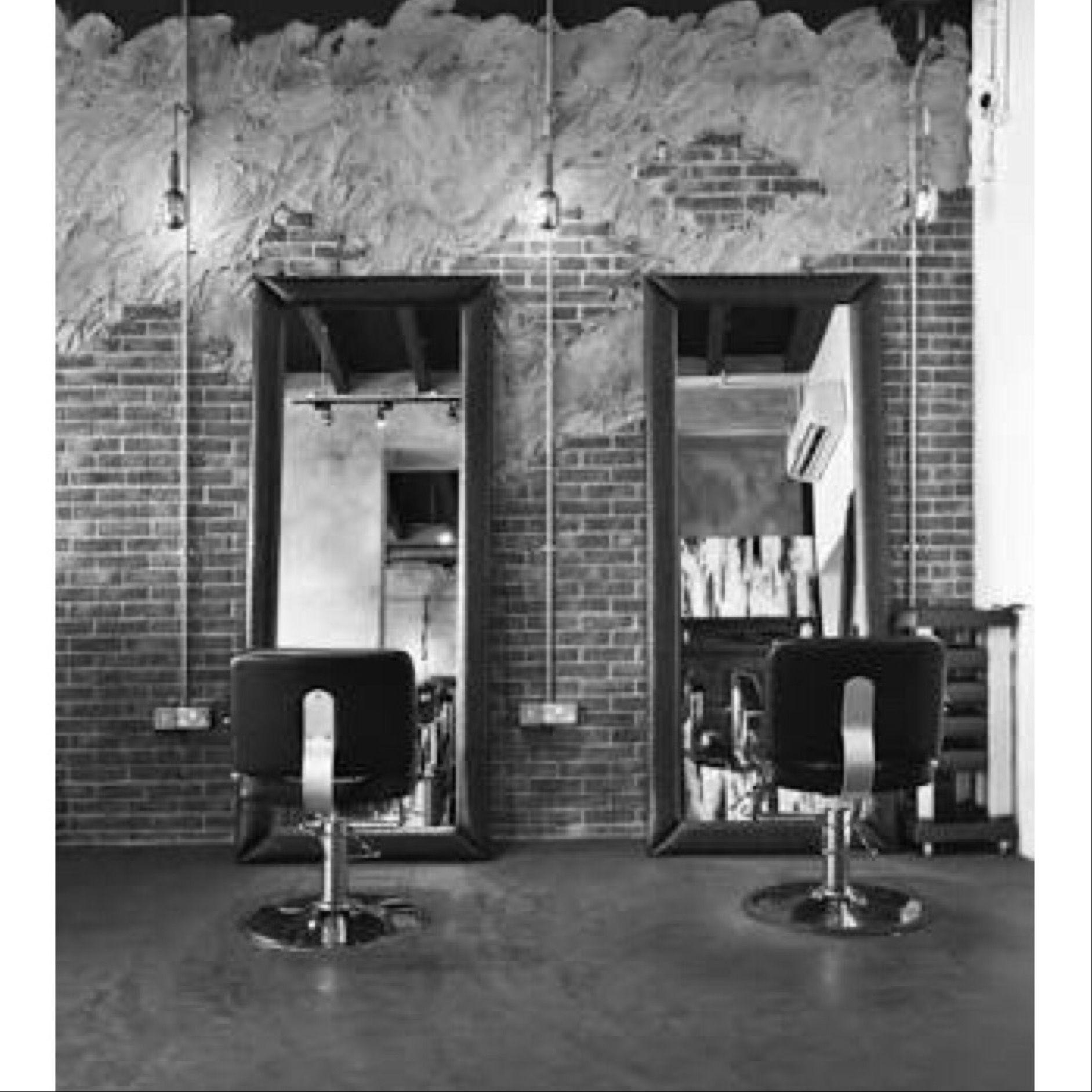 interior design furniture minimalism industrial design. salon interior, bricks and mirrors, minimalism. industrial design interior furniture minimalism b