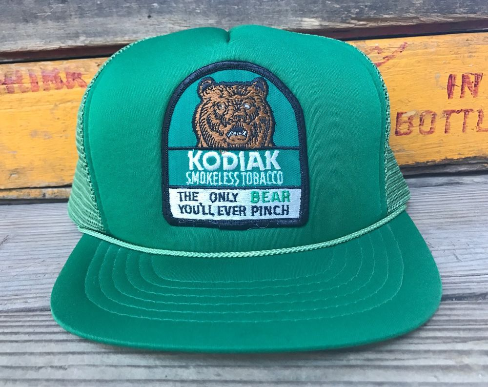 f1c4f69863f Vintage KODIAK Chewing Smokeless Tobacco 80s Green Mesh Snapback Trucker Hat   YoungAnHatCompany  Trucker  Everyday
