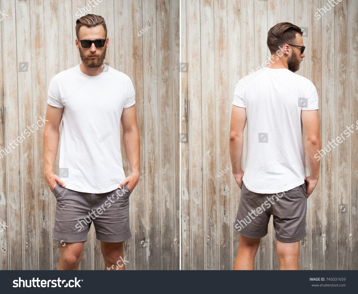 76bd19e393b8 Front and back view of a hipster handsome male model with beard wearing  white blank t-shirt with space for your logo or design in casual urban  style with ...
