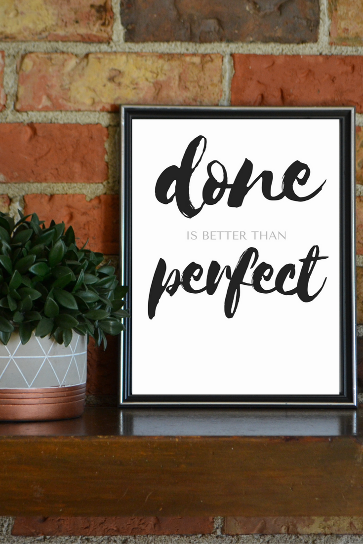 Quotes Wall Art Done Is Better Than Perfect Printable Inspirational Wall Art