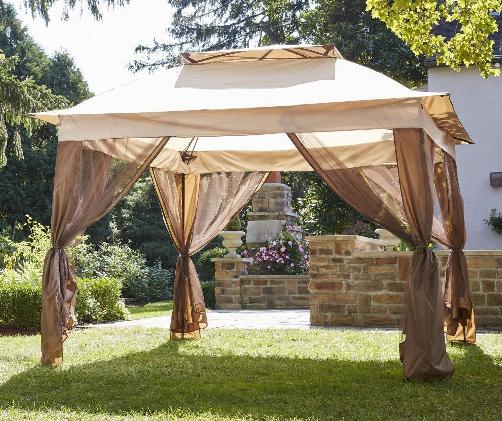 Wilson Fisher Tan Pop Up Canopy With Netting 11 X 11 Big Lots 1000 In 2020 Pop Up Canopy Tent Gazebo Big Lots Canopy Outdoor