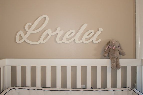 White Wooden Name Sign 11 12 Letters Baby Plaque Painted Nursery G Decor Wall Art Above A Crib