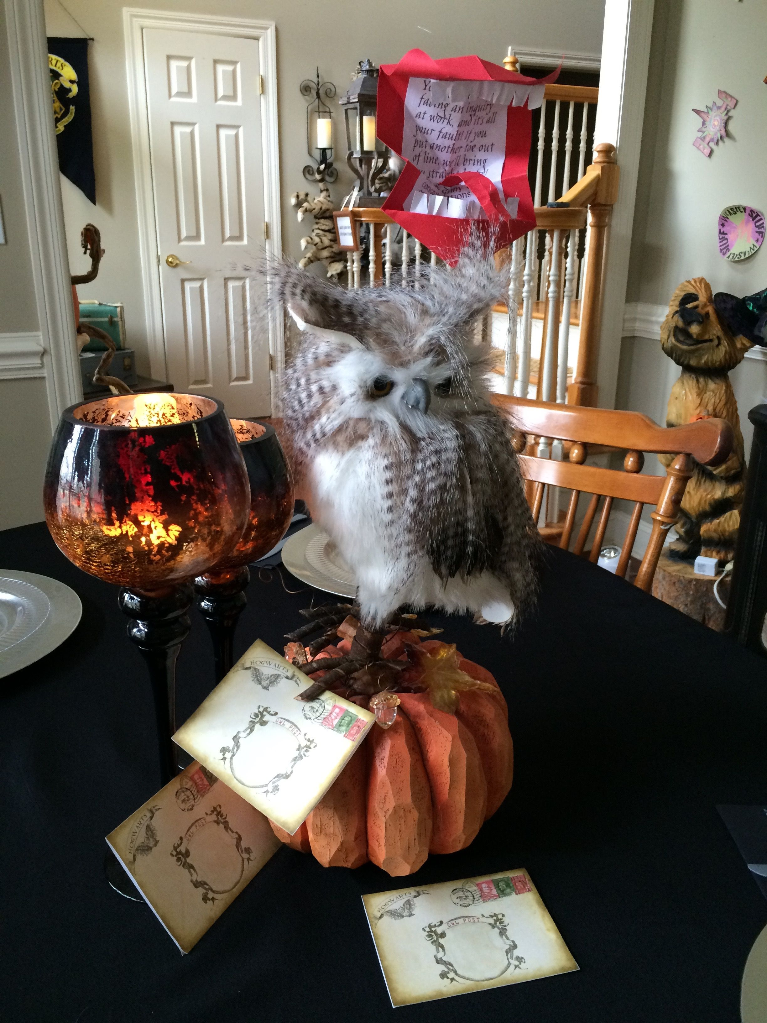 2015 Harry Potter Halloween Party  Owl Post And Howler Table Centerpiece