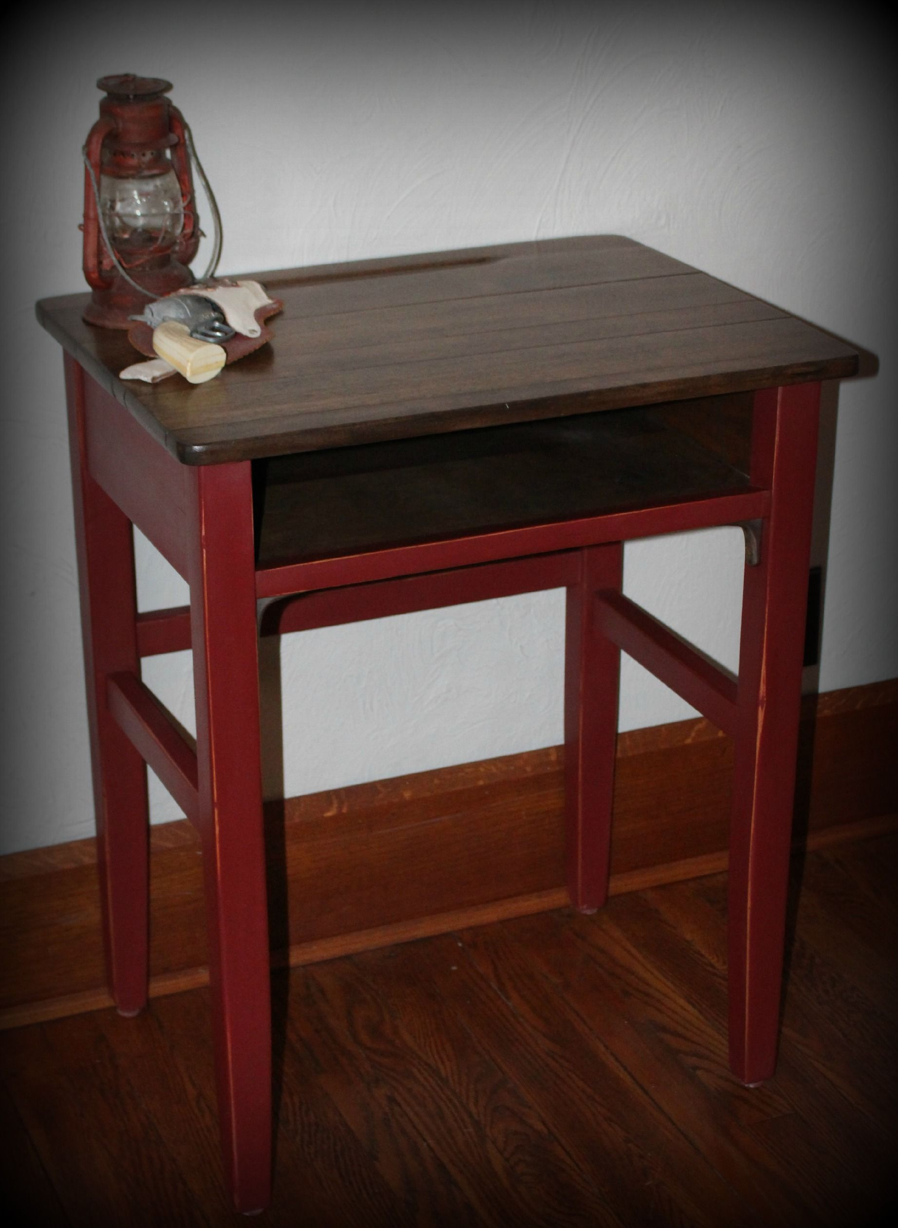 Old School House Desk Refinished Top And Used Custom Mix Of Annie Sloan Chalk Paint Florence Emperors Silk For Bottom
