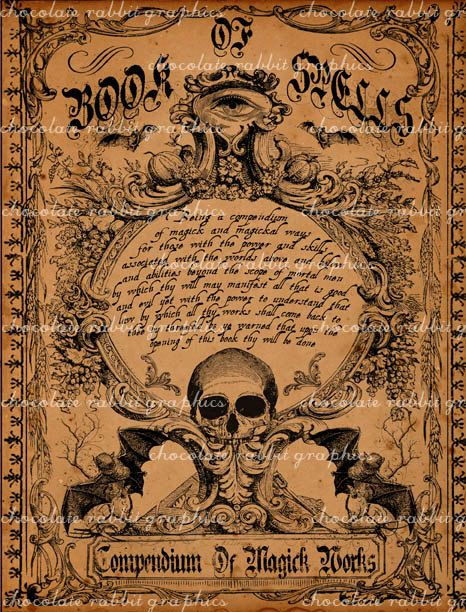 Witch Craft Book Cover ~ Witch spell book cover halloween digital download