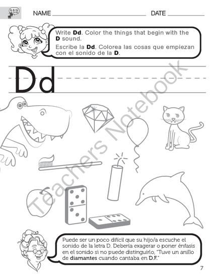 English Consonant D Worksheets With Spanish Instructions From A B S