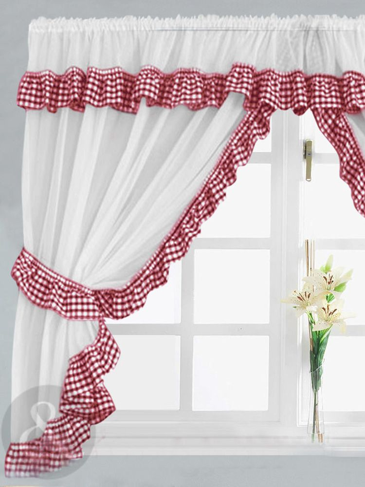 Gingham Check Red White Kitchen Curtain