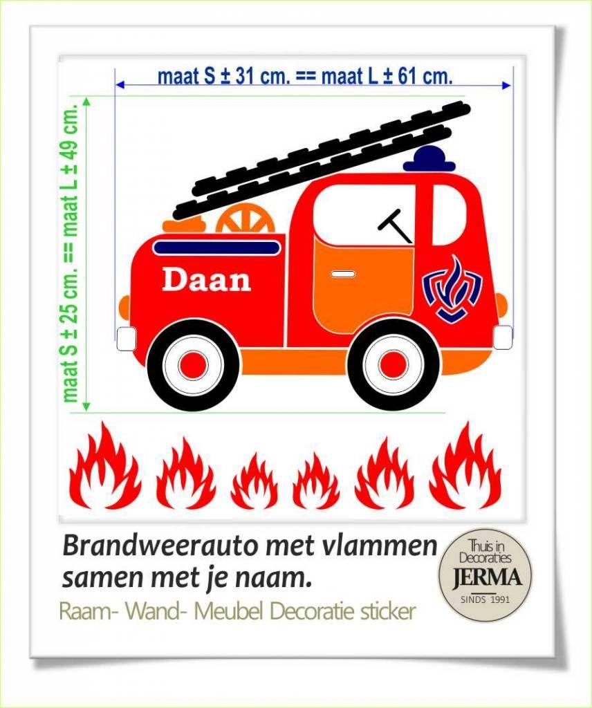 Raam Wand Decoratiesticker Brandweerwagen Interieurdecoratie Raamdecoratie Sticker Kinderkamer Brandweerauto Muurklever R Brandweerwagen Brandweerauto Wanden