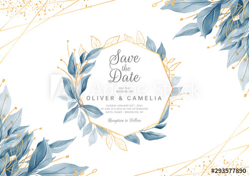 Modern navy blue wedding invitation card template with watercolor ...