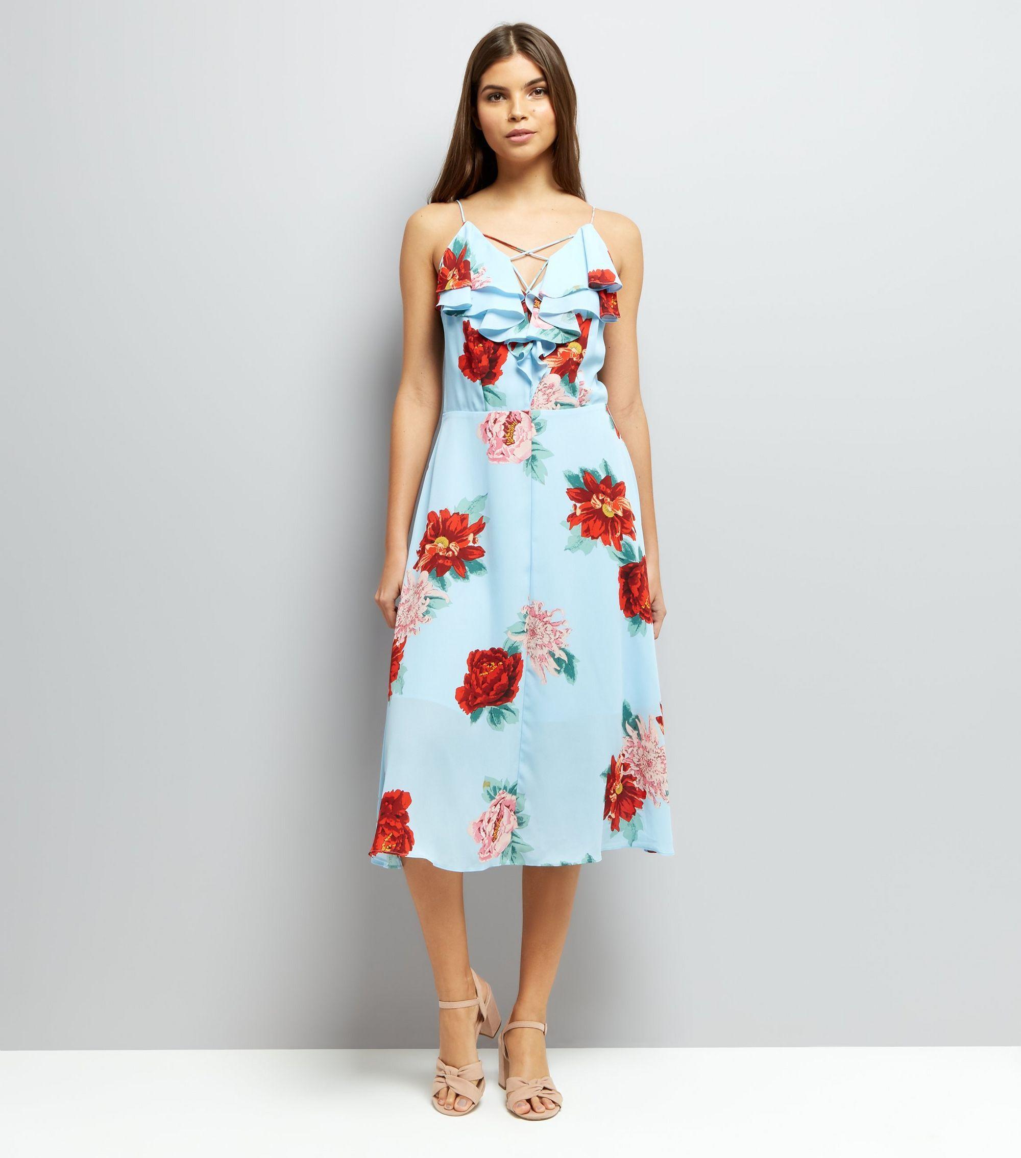 Blue floral print frill trim midi dress midi dresses floral and