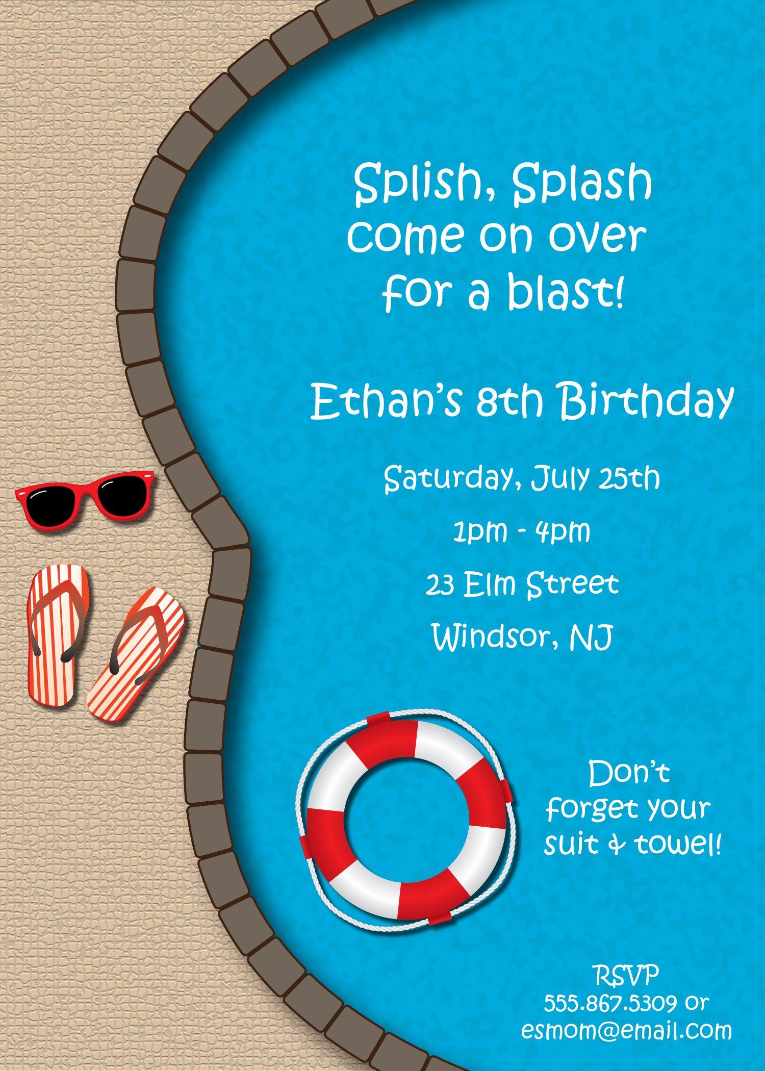 Medium Of Pool Party Invitations