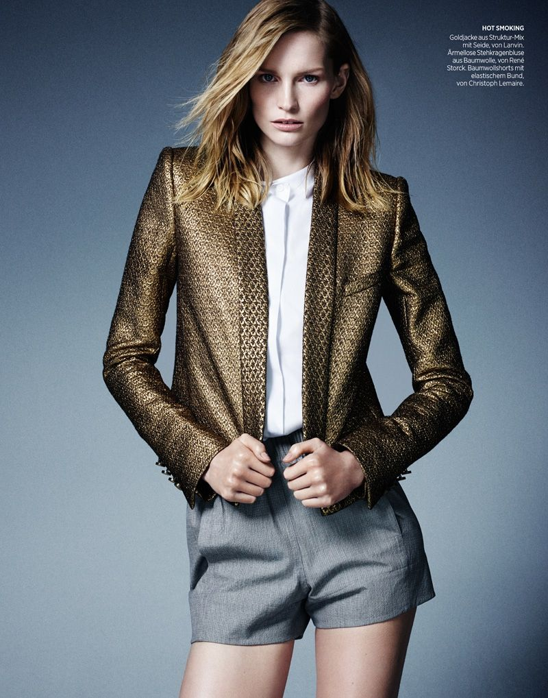 katrin thormann 2014 3 Stay Golden: Katrin Thormann in Metallics for Bazaar Germany by Jason Kim