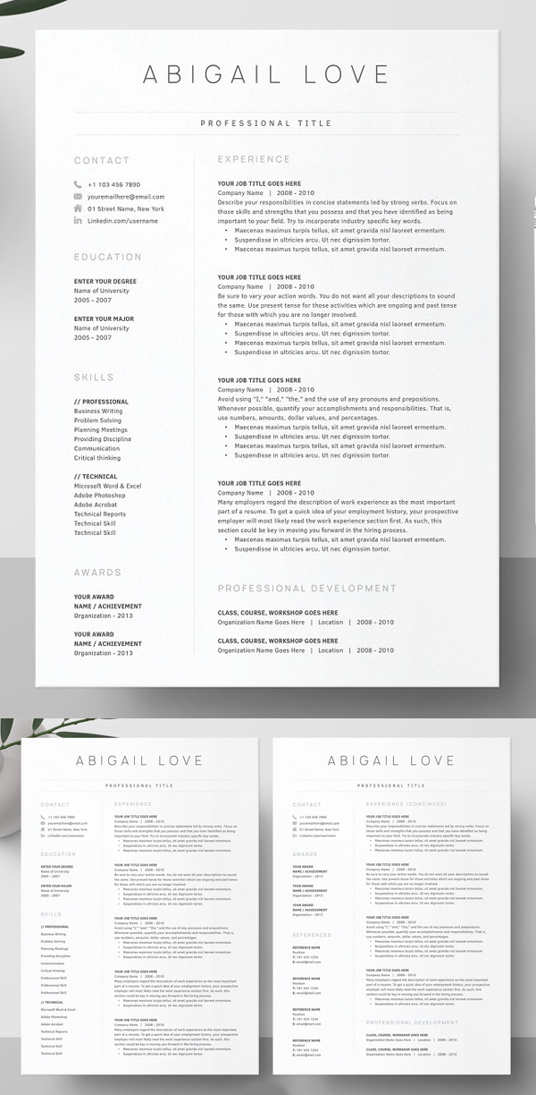 15 Professional Cv Resume Templates Download In 2020 Resume Templates Downloadable Resume Template Minimal Resume Template